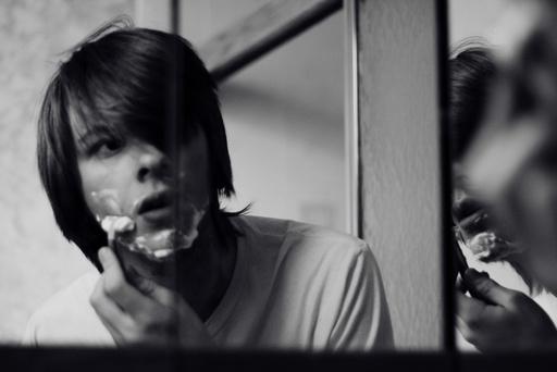 Boy with razor blade
