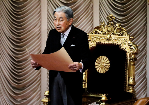 Japan's Emperor Akihito declares the opening of an extraordinary session of parliament in Tokyo