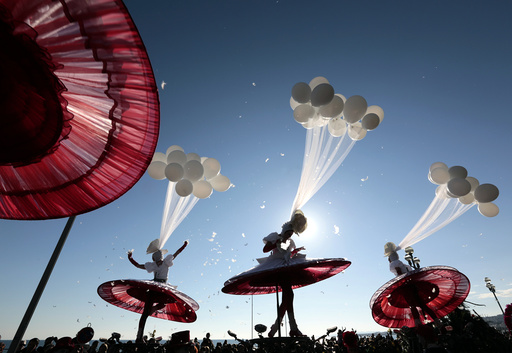 Artists perform during the Carnival parade in Nice