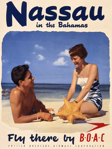 Poster advertising BOAC flights to Nassau