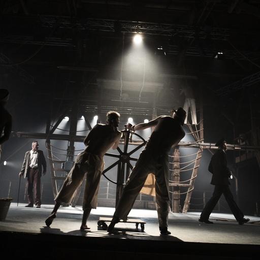 Ved roret. Teater, storm, forlis, uvær. Grenland Friteater og Teater Ibsens Peer Gynt, satt opp sommeren 2008. Fra scenen det Peer returnerer til Norge og forliser. Skien.