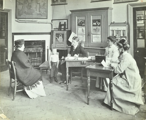 Medical examination of a boy, Holland Street School, London, 1911. Artist: Unknown.