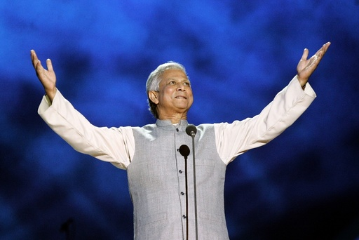 Yunus of Bangladesh gestures on stage during Nobel Peace Prize concert in Oslo