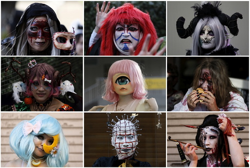 A combination picture shows participants in costume at a Halloween parade in Kawasaki
