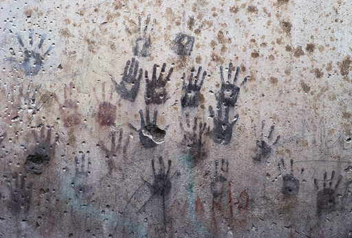 Handprints on wall
