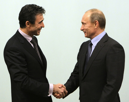 NATO Secretary-General Anders Fogh Rasmussen and Russian Prime Minister Vladimir Putin meet in Moscow