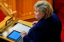 Statsminister Erna Solberg (H) under Stortingets muntlige spørretime onsdag. Foto: Håkon Mosvold Larsen / NTB