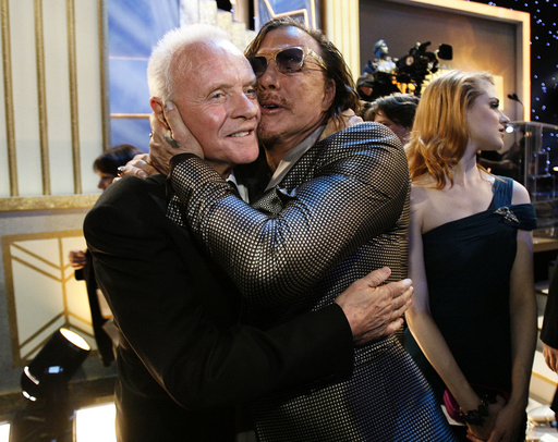 Anthony Hopkins and Mickey Rourke hug at the 15th annual Screen Actors Guild Awards in Los Angeles