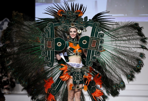 Jennifer Valle representing Honduras poses in her national dress during the 55th Miss International Beauty Pageant in Tokyo