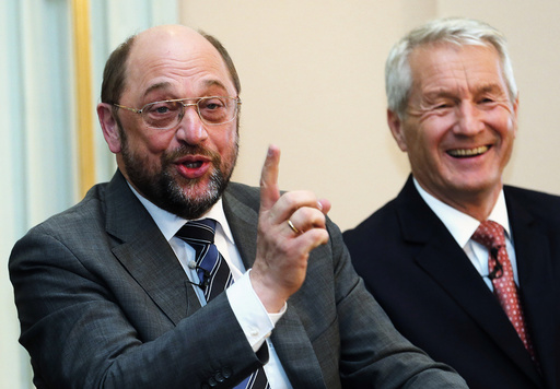 European Parliament President Martin Schulz reacts after making a Freudian slip in a light moment during a news conference in Oslo