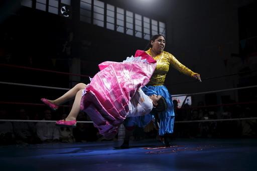 Bolivian wrestlers Mamani, nicknamed Martha