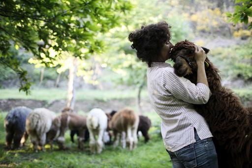 Lisa Vella-Gatt, 46, hugs an alpaca in her farm near Benfeita, Portugal