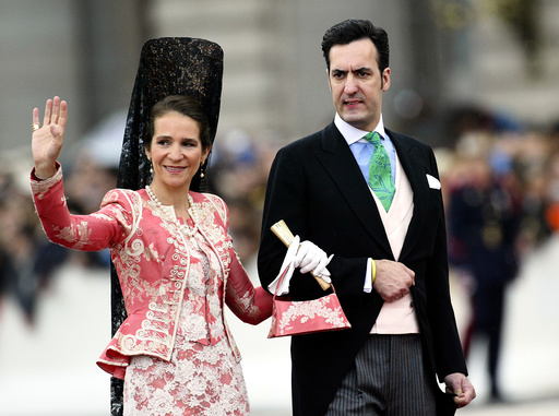 SPAIN'S INFANTA ELENA AND HER HUSBAND JAIME DE MARICHALAR ARRIVE AT MADRID'S CATHEDRAL FOR THE ROYAL WEDDING IN MADRID