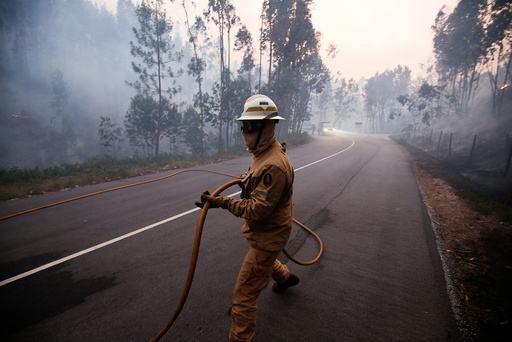 A firefighter works to put out a forest fire near the village of Fato, central Portugal