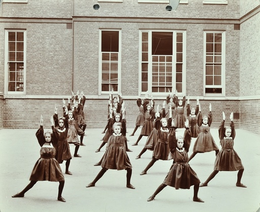 Girls' exercise drill, Montem Street School, Islington, London, 1906. Artist: Unknown.