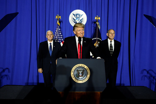 U.S. President Trump takes the stage to deliver remarks at Homeland Security headquarters in Washington