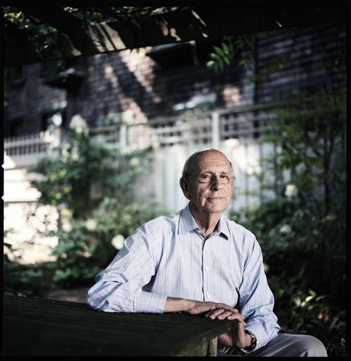 Supreme Court Justice Stephen Breyer, who wrote a book about cases in which overseas practices were cited, at his home in Cambridge, Mass.