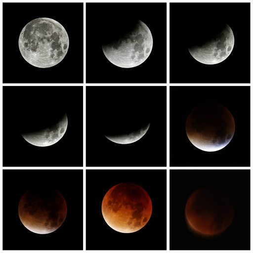 A combination of images shows the progression of a lunar eclipse coinciding with a so-called