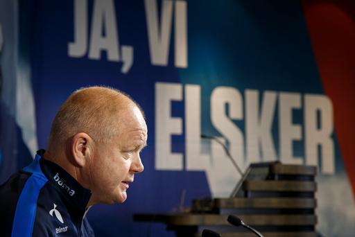 Pressekonferanse med landslagstrener Per Mathias Høgmo på Ullevål stadion, dagen før VM kvalifiseringskampen mot San Marino.