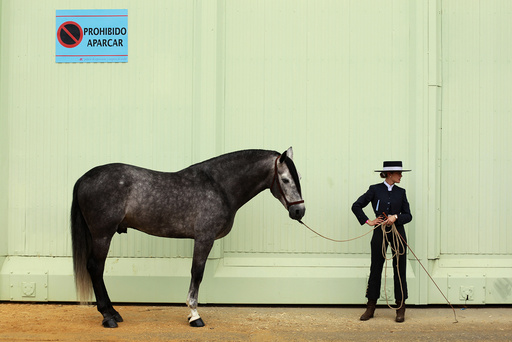 An Andalusian horsewoman stands with her horse before competing in a morphological contest during the Salon Internacional del Caballo (SICAB) horse fair in Seville