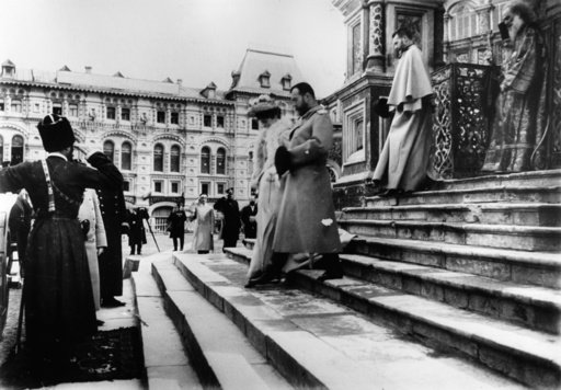 Tsar Nicholas II And Tsarina Alexandra Feodorovna Leaving St Basil Cathedral in Moscow / Photo, c.1900/1906