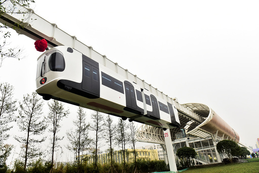 A test line of a new energy suspension railway resembling the giant panda, is in operation in Chengdu
