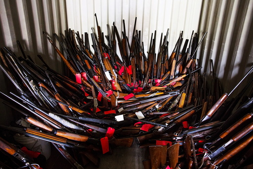 Stacks of guns found in a shipping container in Pageland, South Carolina