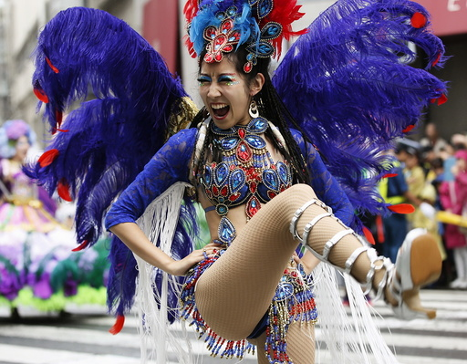 Japanese samba dancer performs during the 34th annual Asakusa Samba Carnival in Tokyo