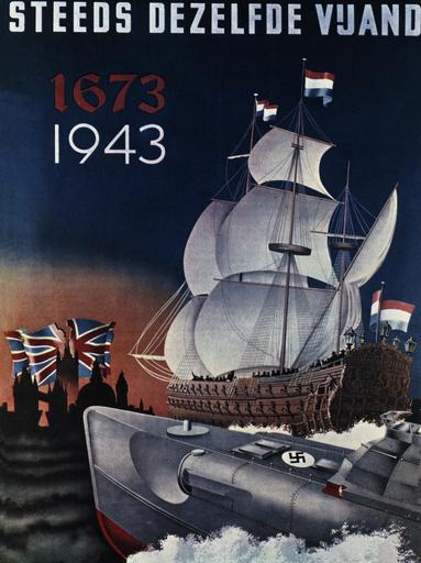 Holl.Segelschiff,dt.U-Boot/NS-Plakat... - Dutch Sail.Ship & Germ.Submar./NS Poster -