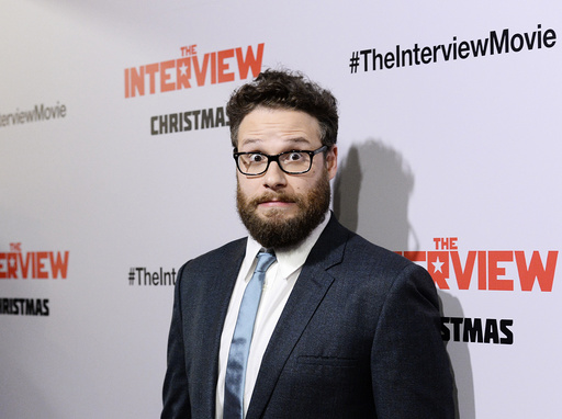 Seth Rogen poses during premiere of