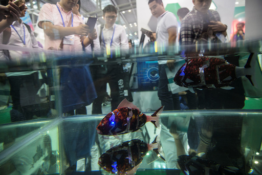 Fish robots swim in a pool during China Hi-Tech Fair in Shenzhen