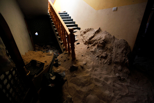 Staircase, that was used by Islamic State militants as a hideout, is seen after it was captured by Libyan forces allied with the U.N.-backed government and Islamic State militants, in neighborhood Number Three in Sirte