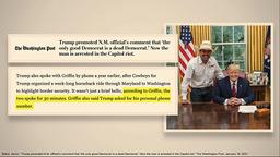 Dette bildet av Donald Trump og Couy Griffi ble vist av aktoratet i Senatet torsdag. Foto: Senatet / AP / NTB