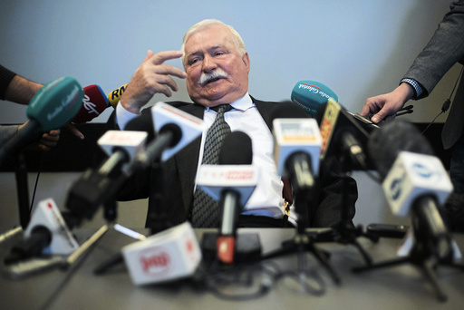 Former Polish President Walesa attends a news conference in Gdansk