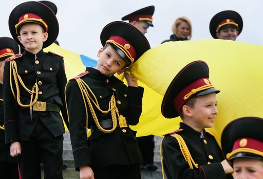 Ukrainians celebrate the 71th anniversary of the victory over Nazi Germany in World War II.