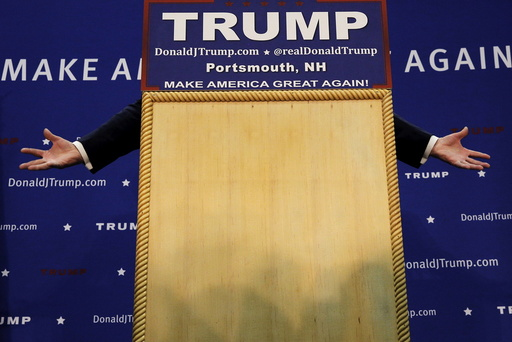 U.S. Republican presidential candidate Donald Trump speaks during a campaign rally in Portsmouth