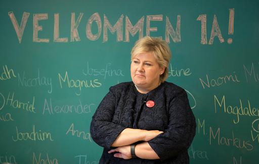 Statsminister Erna Solberg på Jar skole