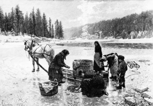 J. Ekenaes, Wäsche auf dem Eise /Holzst. - Ekenaes / Laundry in Winter / Woodcut -