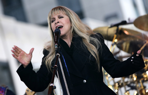Singer Stevie Nicks of the rock band Fleetwood Mac performs during a concert by the band on NBC's 'Today' show in New York City
