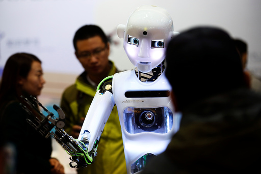 FILE PHOTO: People look at a humanoid robot at the Tami Intelligence Technology stall at the WRC 2016 World Robot Conference in Beijing