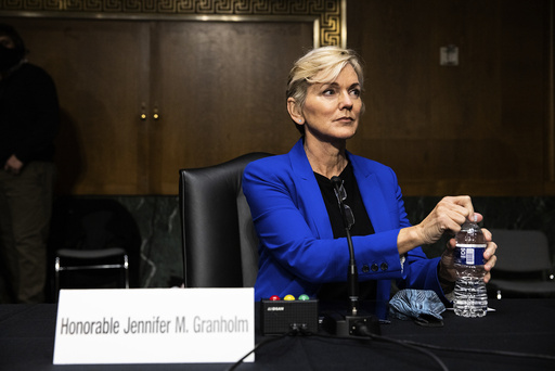 Former Gov. Jennifer Granholm, D-Mich., arrives to testify before the Senate Energy and Natural Resources Committee during a hearing to examine her nomination to be Secretary of Energy, Wednesday, Jan. 27, 2021 on Capitol Hill in Washington. (Graeme Jennings/Pool via AP)