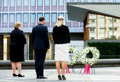 MINNEMARKERING PÅ FEMÅRSDAGEN FOR BOMBEEKSPLOSJONEN I REGJERINGSKVARTALET