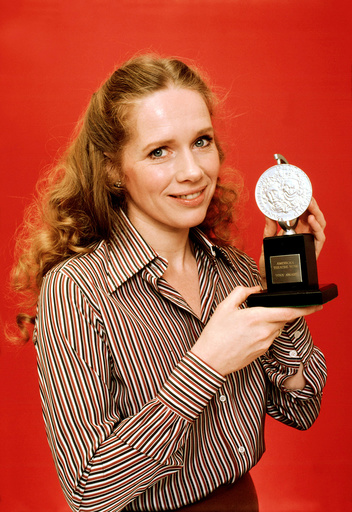 LIV ULLMANN, co-host of the 33rd Tony Awards, holds a trophy for a publicity shot