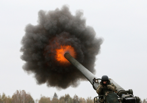 Ukrainian servicemen take part in military drills in Kiev region