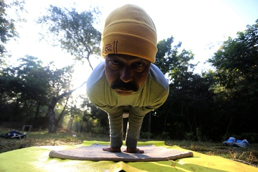 Yoga at a park in Bhopal