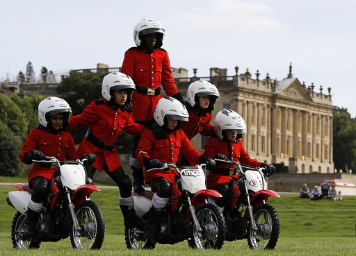 The Imps Motorcycle Display Team rehearse for the country fair at Chatsworth House near Bakewell in Britain
