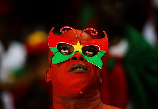 A Burkina Faso fan before the match