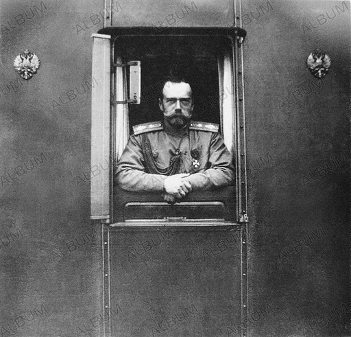 Emperor Nicholas II at window of the own railroad car.
