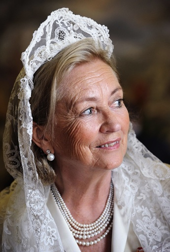 Belgium's Queen Paola smiles after meeting Pope Benedict XVI at the Vatican