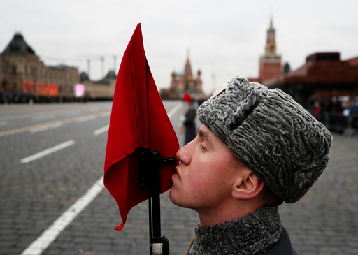 Russian soldier seen at anniversary of 1941 parade when Soviet soldiers marched towards front lines of World War Two, at Red Square in Moscow